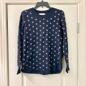LOFT Navy Blue Gold Metallic Polka Dot Sweater Med